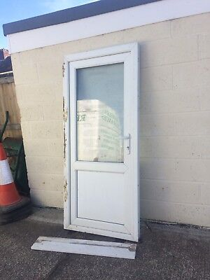 White upvc door with sill picclick uk for Garage side door and frame