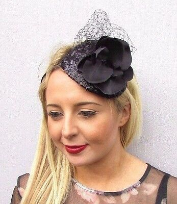 Black Orchid Flower Fascinator Wedding Races Funeral Net Headband Teardrop 3521