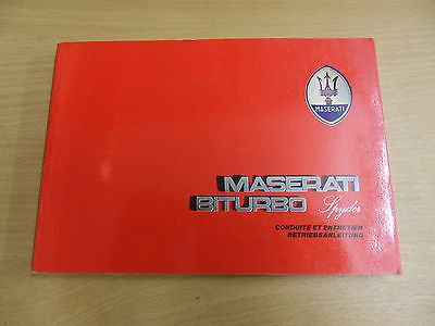 Betriebsanleitung MASERATI Biturbo Spyder  Owners Manual