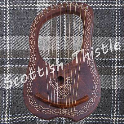 New Lyre Harp 10 Metal Strings+Free Tunning key & Carrying Case/HARFE/ARPA