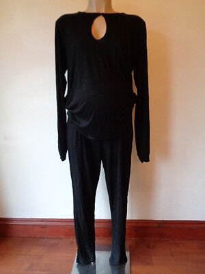 Asos Maternity Black Jersey Long Sleeved Jumpsuit All-In-One Size 12
