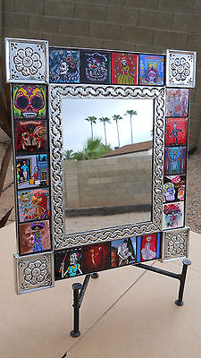 MIRROR punched tin Day of the Dead Tile collectable Mexican folk art pottery 15""