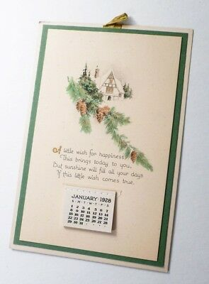 1928 CALENDAR Snow and Pine Tree Cone Scene Complete Pad for Year