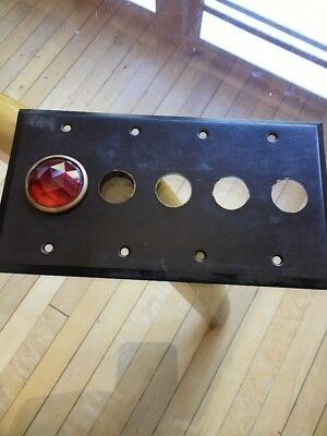 ANTIQUE Brass Jeweled Red Glass Lens Push Button Light Switch Plate Cover