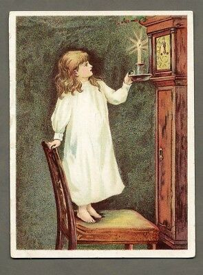 McLAUGHLIN COFFEE Trade Card 1880's GRANDFATHER CLOCK & Little Girl Candlestick