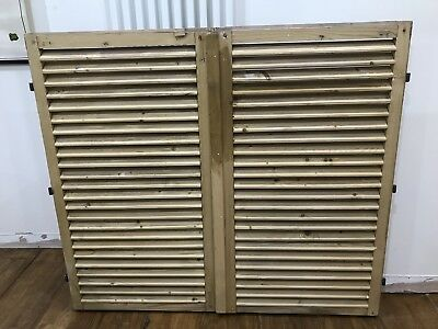 VINTAGE Stripped Pine WOODEN FRENCH SHUTTERS ONE PAIR  137x119 (combined)