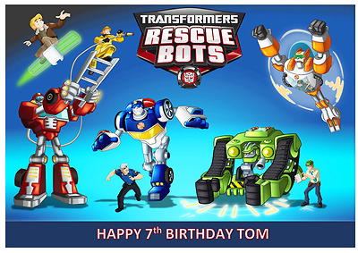 TRANSFORMERS RESCUE BOTS PERSONALISED Edible A4 Cake Icing Sheet Topper Images