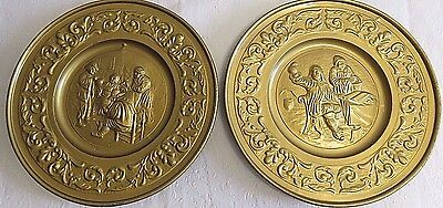 """Vintage Wall Plaques Dutch Embossed Metal Tin Wall Hanging Plates 11"""" - Set of 2"""