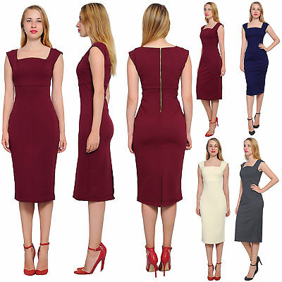 fed9ebce50a Marycrafts Womens Cocktail Cap Sleeve Square Neck Fitted Pencil Midi Dress