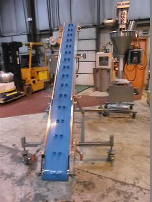 """10"""" x 126"""" Stainless Steel Sanitary Inclined Cleated Blue Belt Conveyor"""