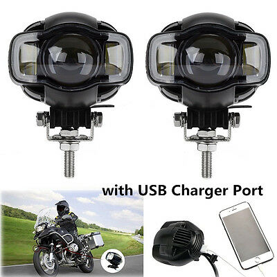 2x CREE Motorcycle LED Spot Light Driving Fog Lamp DRL White USB Port Waterproof