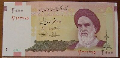 Lot of 2 Iran banknotes-2000 and 5000 Rials-paper money currency