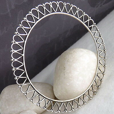 "Granulated RUFFLE #1 Filigree Bangle Size S (61.6mm/2.42"") Solid 925 Stg Silver"