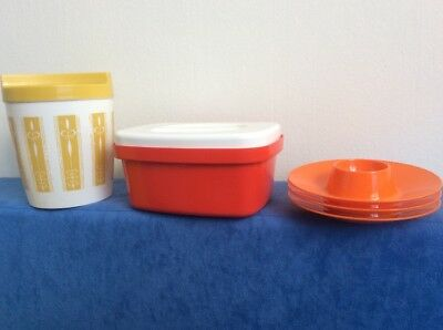 Retro Red Plastic Butter Dish,Yellow Canister, 3 Orange Egg Cups Free Post