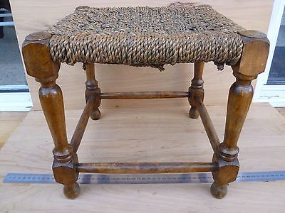 Vintage Old Rope Top & Timber Stool, Furniture, Rope Chair (F257)