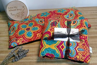 Large Wheat Bag Heat Pack Microwave 'Love My Wheat Bag' on fb Bright Paisley