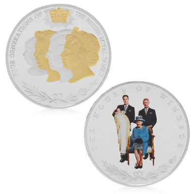 Four Generations British Royal Family Commemorative Coin Collection Collectible
