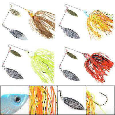 Lot 4pcs Metal Plastic Spinnerbaits Spinner Bait Fishing Lures Buzzbait BASS