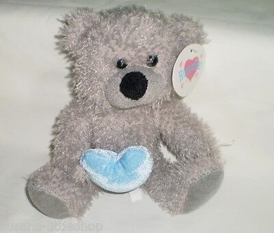 Huggables Grey Teddy Bear Plush Holding Love Heart