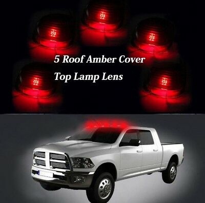 5 Roof Running Light Cab Marker Cover Top Lamp Lens For Ford F-250 350 450 Amber