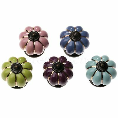 Porcelain Ceramic Pumpkin Cabinet Knob Drawer Door Cupboard Pull Handle Hardware