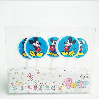 5 x Mickey Mouse Blue Birthday Candles Party Toppers