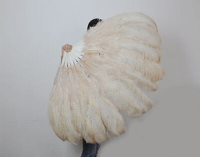 """XL 2 Layers beige Ostrich Feather fan 34""""x 60"""" with Travel leather Bag"""