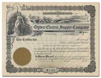 Ogden Electric Supply Company Stock Certificate