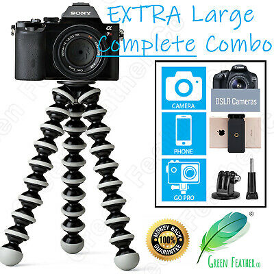 XLARGE Flexible Octopus Tripod | Phone GoPro Camera DSLR 10x Support | Universal