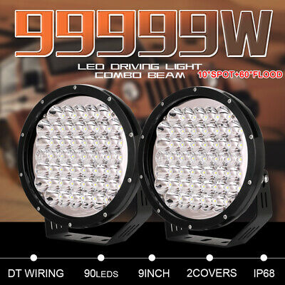 Pair 9 inch 99999W CREE COMBO LED Driving Lights Round Black Truck UTE ATV 4X4