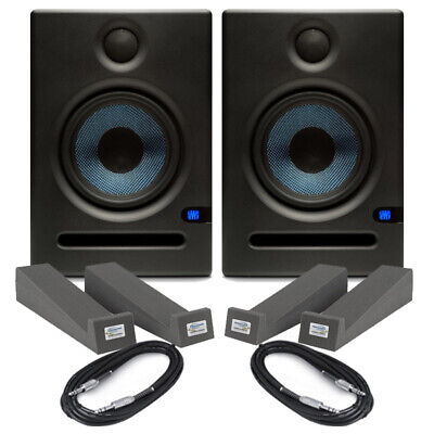 "Presonus ERIS E8 Black Pair 8"" Active Studio Monitors + Isolation Pads & Cables"