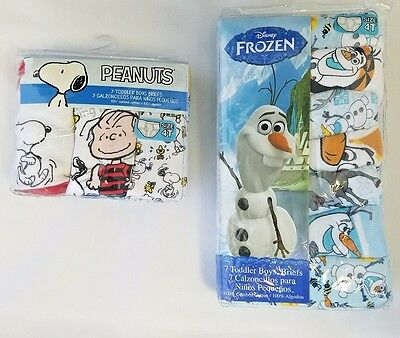 Disney Frozen Olaf Toddler Boy's Underwear 7 pack Briefs plus bonus 3pr Sz 4T