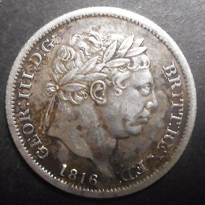 Great Britain 1816 George III   Silver Shilling  Better detail