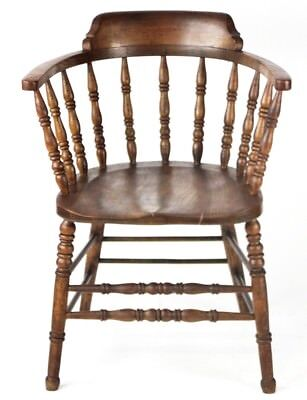 Antique Victorian Elm Smokers Bow Chair - FREE Shipping [PL2207]