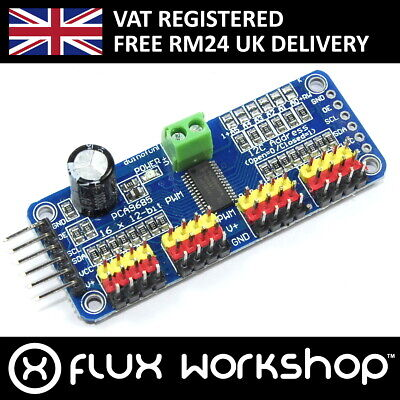 16 Ch 12 Bit PWM LED Servo Driver I2C PCA9685 Arduino Raspberry Pi Flux Workshop