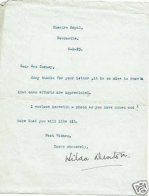 Hilda Denton Theatre actress typed and Hand signed Letter   1923