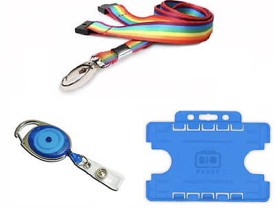 ID Card Holder Double Sided, ID Neck Lanyard with Metal Clip YoYo Badge Reel Set