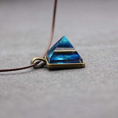 New Age Necklace with Pyramid Pendant Galaxy Sacred Geometry