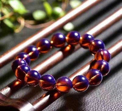 Natural Dominican AAAAA Violet Blue Amber Round Bead Bracelet Amber 12-20mm
