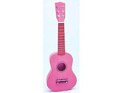 BONTEMPI 55 cm Wooden Guitar with Stickers (Pink). Shipping Included