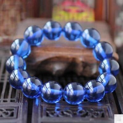 Baltic Amber Beeswax Bracelet Natural Blue Amber Round Bead Hand Strings 18mm