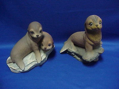 HOMCO 1981 Home Interiors Pair of Baby Harp Seals ADORABLE!!!