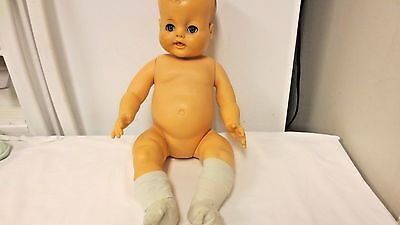 """Older 18"""" Rubber Jointed Drink and Wet Baby doll-Open Close eyes-squishy head"""