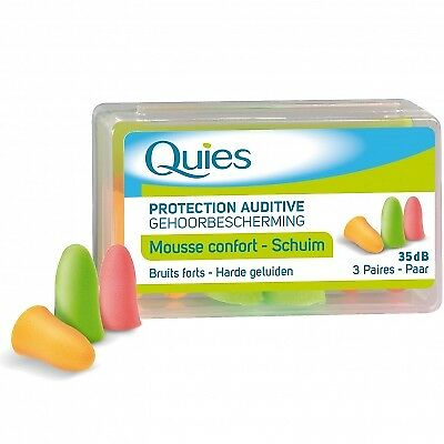 QUIES Protection Auditive Mousse Confort Couleur Bruits Forts - 35dB - 3 paires