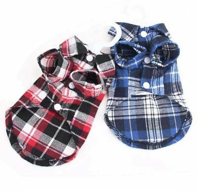 Pet Dog Check Plaid Shirts in Blue / Red Sizes S M L