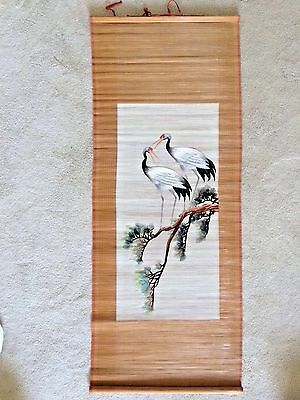 Chinese Embroidered Birds Scroll Art Wall Hanging Picture