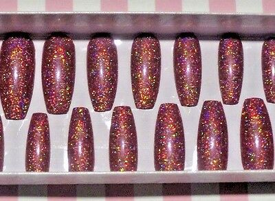 *Rose Holo Sparkle * Handmade Press on nails LONG Ballerina 20pcs Gel-polish