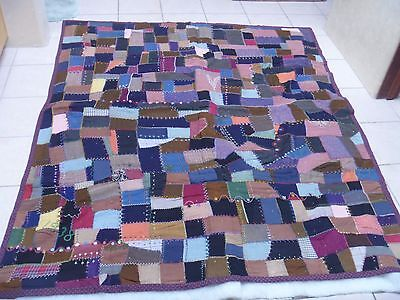 Antique Crazy Wool Quilt Lots of Embroidery Vintage 1938 Patchwork Hand Made