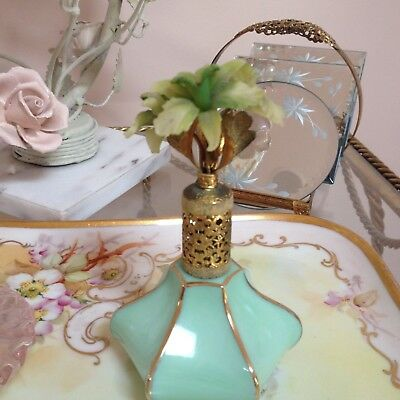 Irice Made In France Flower Mint Green Glass Perfume  Bottle Antique