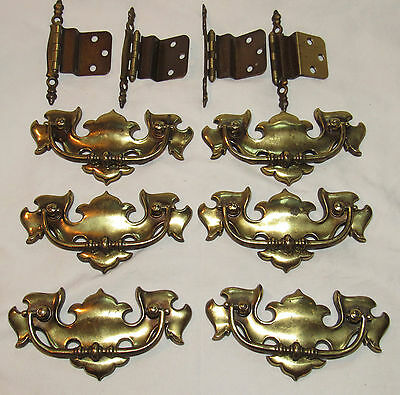 6 Vtg Chippendale Keeler Colonial Antiqued Brass 6993 Bail Drawer Pulls Hinges